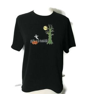 Onque Casuals Halloween Embroidered T Shirt